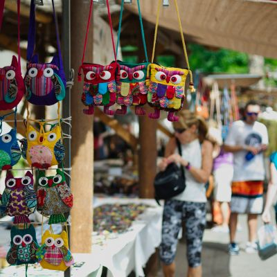 Bags for sale at a market in Fuerteventura