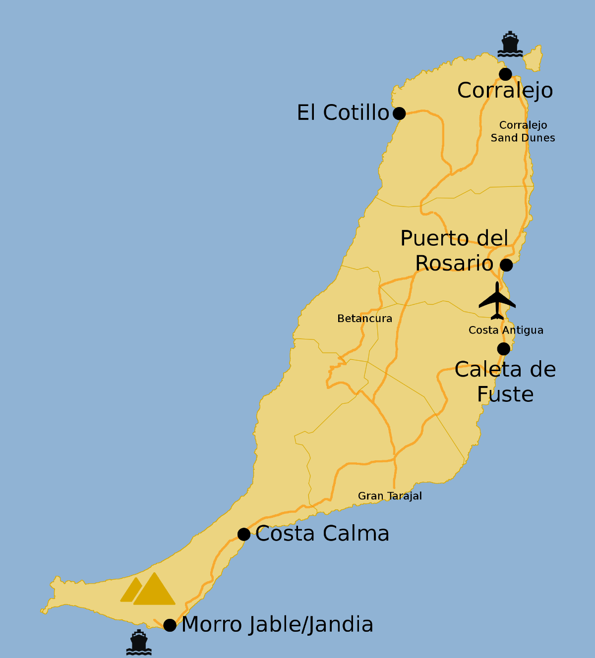 Map Of Fuerteventura Airport Map of Fuerteventura   FuerteventuraGuide.com