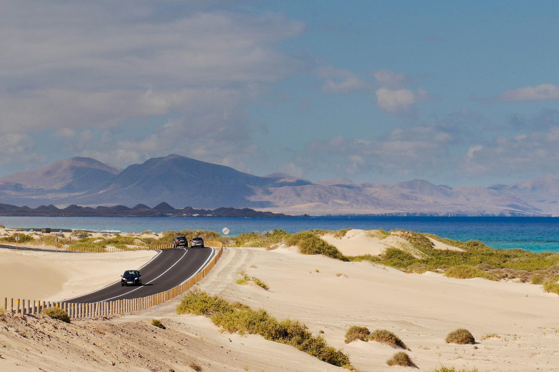Road through the Corralejo Dunes