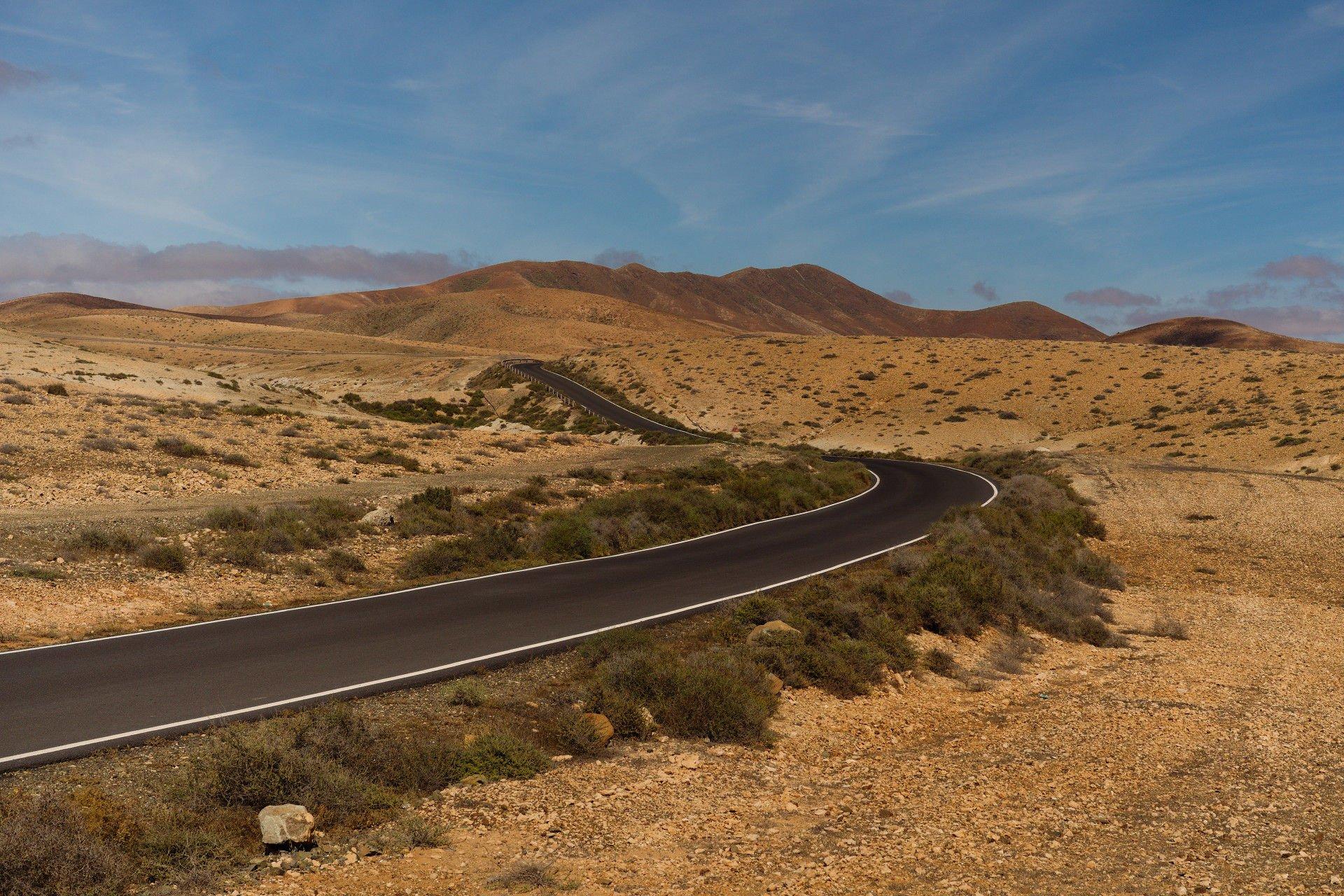 Road through Fuerteventura's Desert Interior.