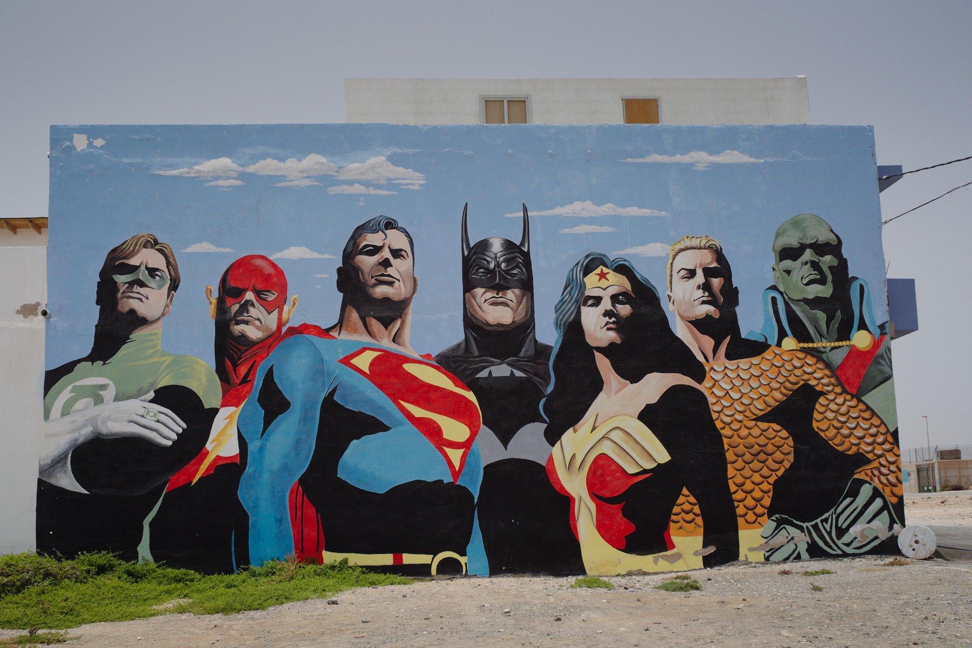 Superheroes Mural in Puerto del Rosario, Fuerteventura