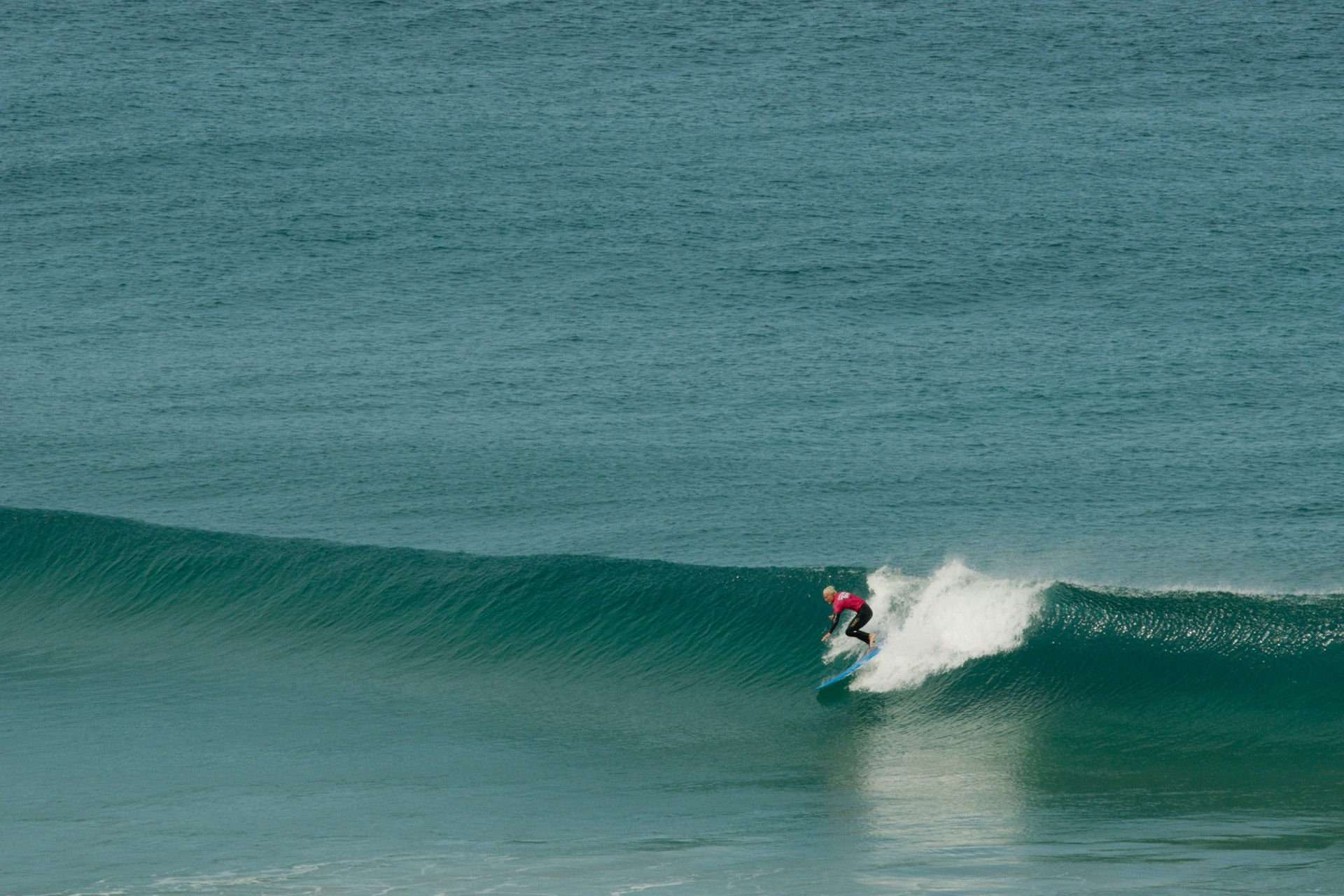 A surfer in action at La Pared, Fuerteventura