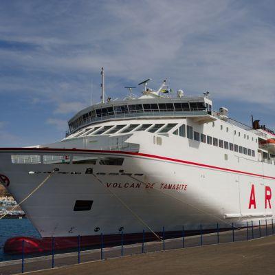 The Naviera Armas Volcan de Tamasite Ferry docked in Morro Jable Harbour