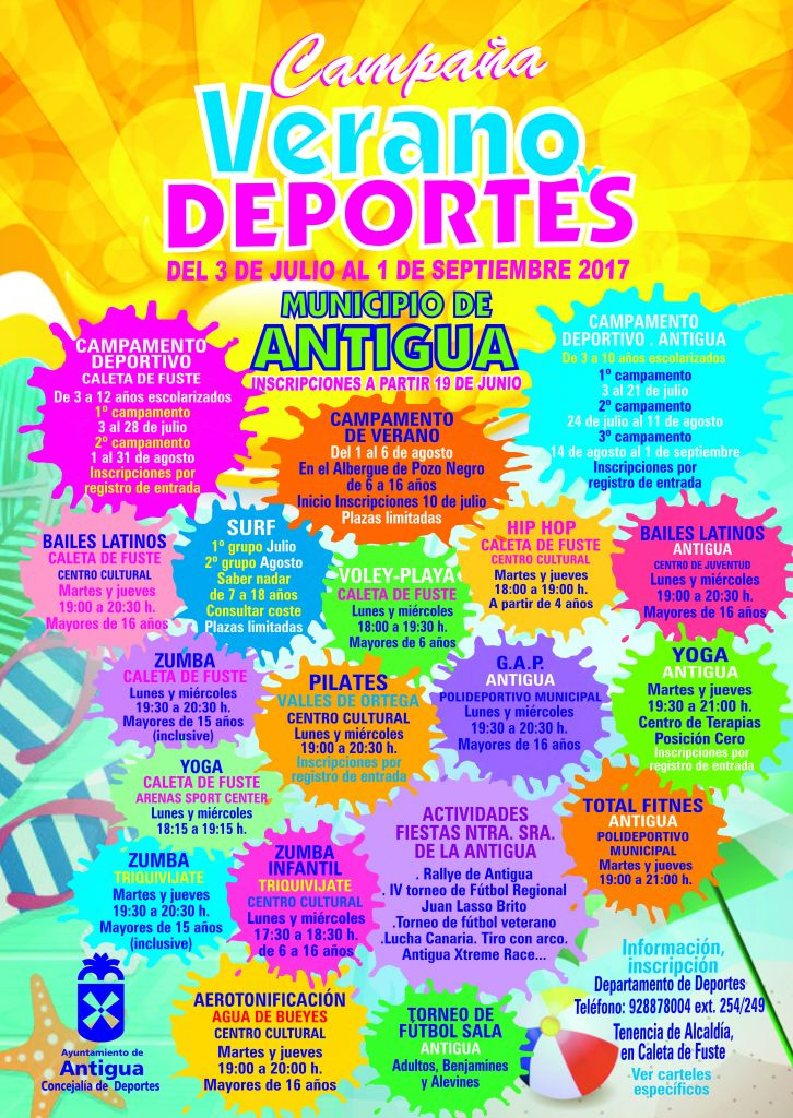 Calendar of Summer 2017 Events in the municipality of Antigua
