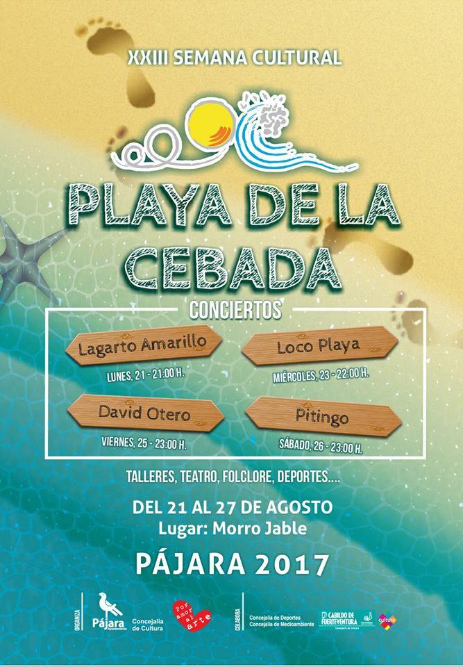 Poster of events for the Cultural Week at Playa de la Cebada, Morro JaXXIII Semana Cultural Playa de la Cebada, Morro Jable 2017ble, August 2017