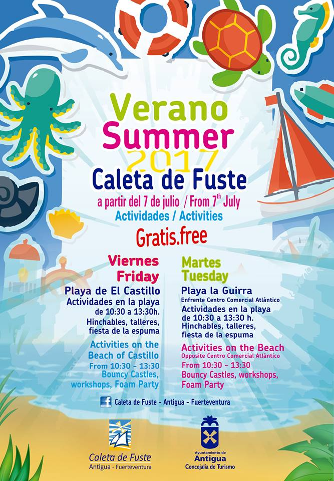 Children's summer activities on the beach in Caleta de Fuste, Fuerteventura